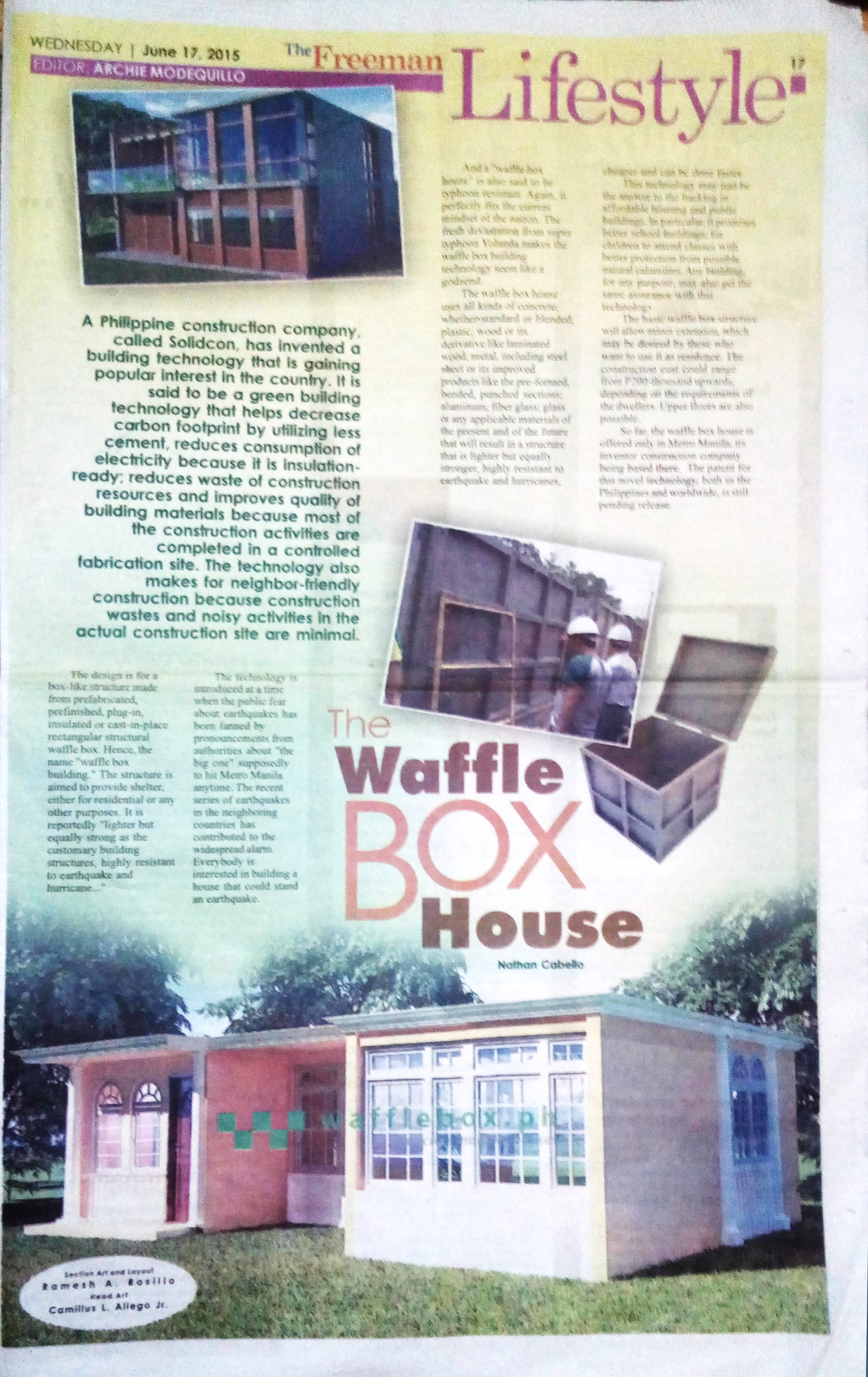 WAFFLE BOX HOUSE FEATURED ON THE BIGGEST NEWSPAPER IN CEBU PHILIPPINES ...